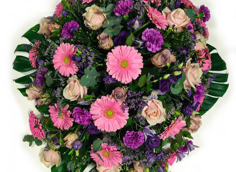 Rouwarrangement 'Pink, Purple & Green'