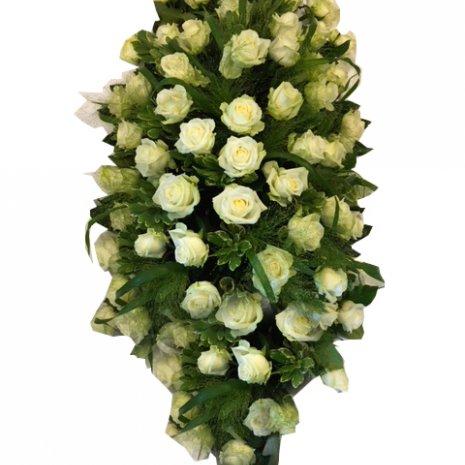 Rouwarrangement 'Witte Rozen' (druppelvorm)