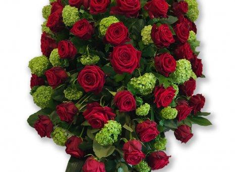 Kistbedekking 'Rode roos/Sneeuwbal'