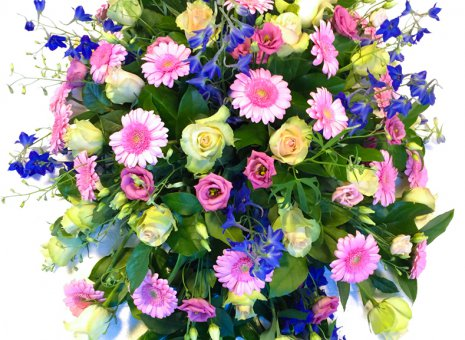 Rouwarrangement 'Pink on Blue'