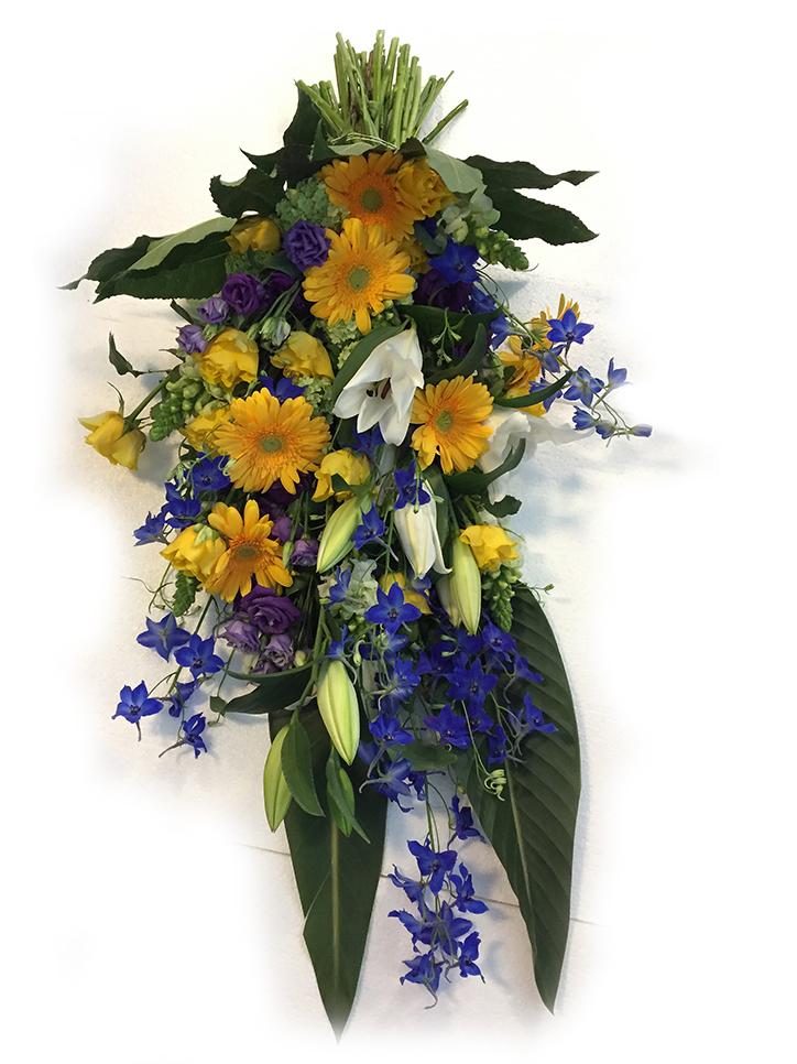 Rouwboeket Geel Blauw Voort Bloemen