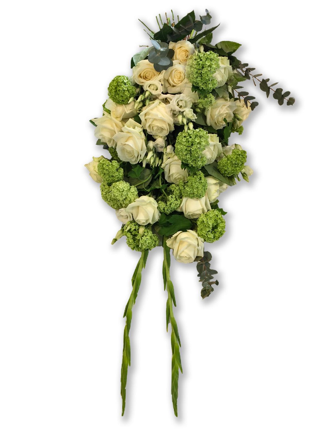Rouwboeket Traditioneel Gebroken Wit Groen Voort Bloemen