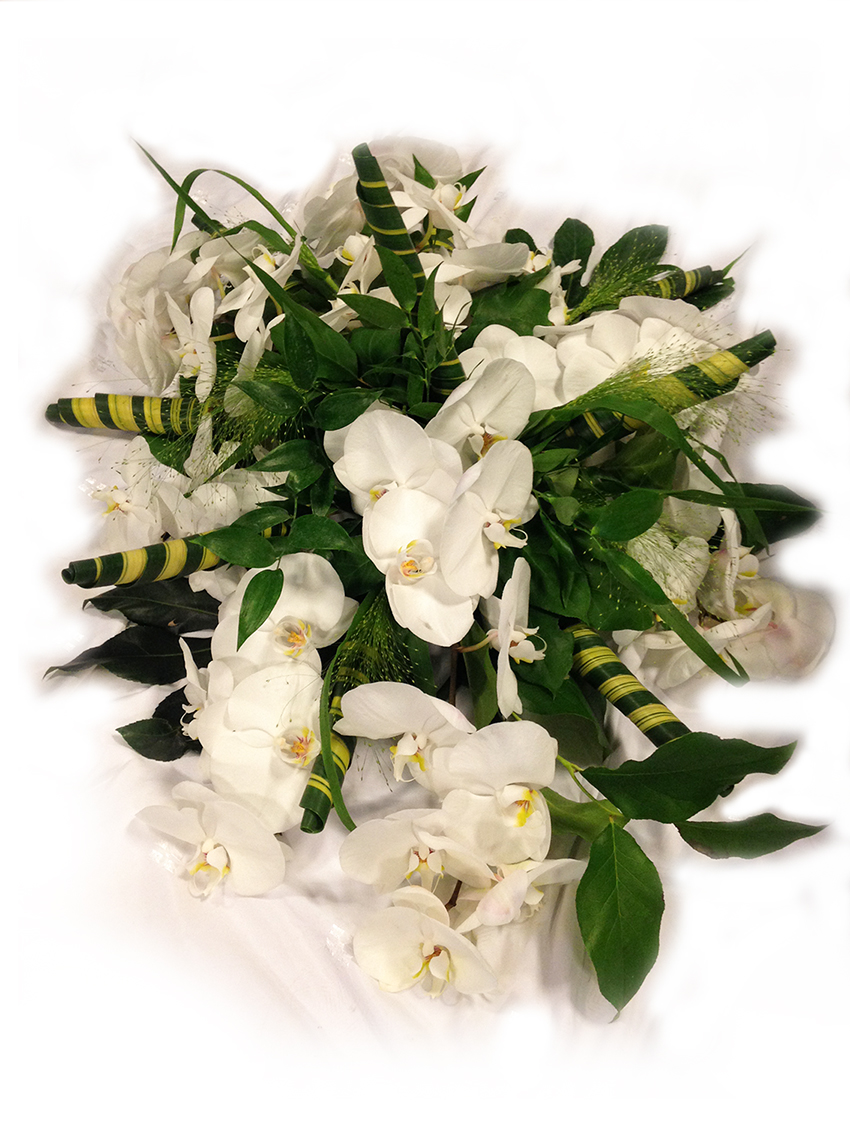 Rouwarrangement orchidee blanche
