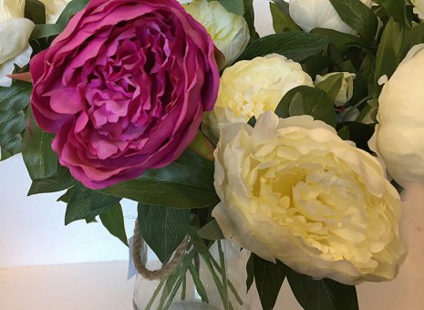 Pioenroos (3 bloemen/steel)